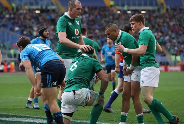 CJ Stander celebrates scoring their fifth try with Devin Toner, Simon Zebo and Garry Ringrose