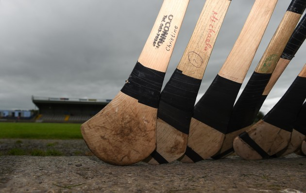 General view of hurley sticks before the game
