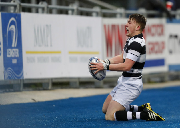 David Hawkshaw celebrates his try