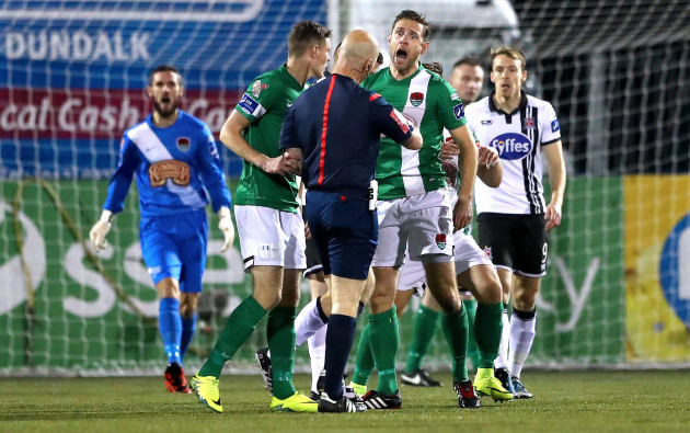 Alan Bennett reacts as referee Tomas Connolly awards Dundalk a free