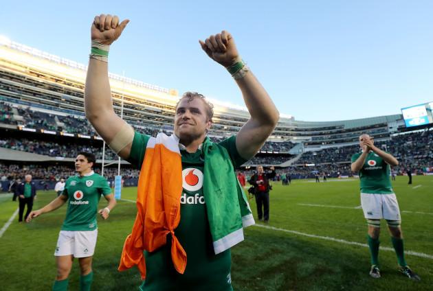 Jamie Heaslip celebrates winning