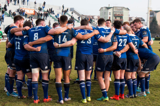 Leinster team huddle