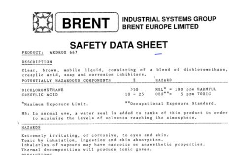 ardrox safety sheet