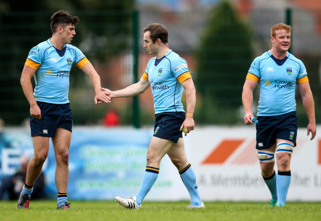 Tom Fletcher of UCD celebrates scoring a try with Jimmy O'Brien