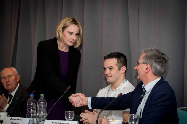 Swim Ireland's Sarah Keane is congratulated after being elected OCI President at tonights EGM