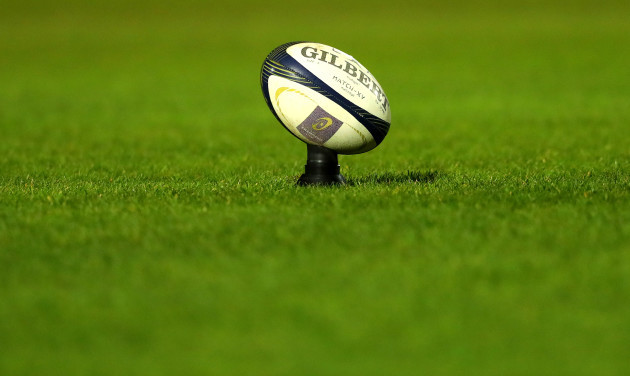 A view of a rugby ball on a kicking tee