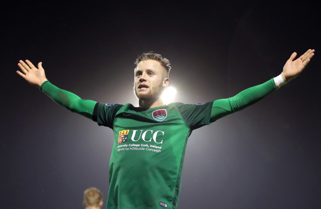 Kevin O'Connor celebrates scoring their second goal from a free kick