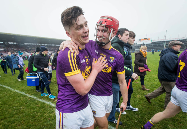 Conor McDonald and Paul Morris celebrate after the game