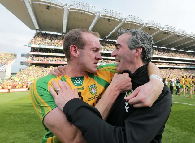 Jim McGuinness celebrates with Neil Gallagher