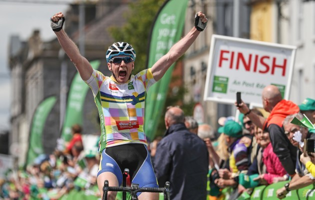 Eoin Morton celebrates winning the second stage of the Ras