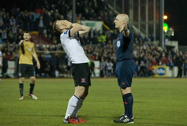 Dundalk's Stephen O'Donnell appeals for a handball decision from referee Rob Rogers