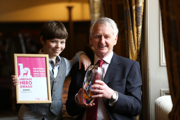 Minister Heather Humphreys announces Matt Farrell from Co. Longford as Ireland?s Heritage Hero. Pictured at the Heritage Council?s Heritage Awards Ceremony in Dublin were Ireland?s Heritage Hero Matt Farrell and his grandson Jamie Penrose, aged 10.