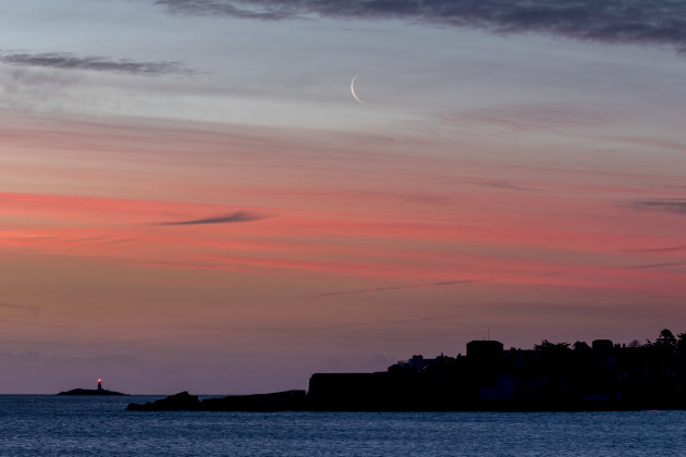 2 of 2: Crescent Moon over Sandycove
