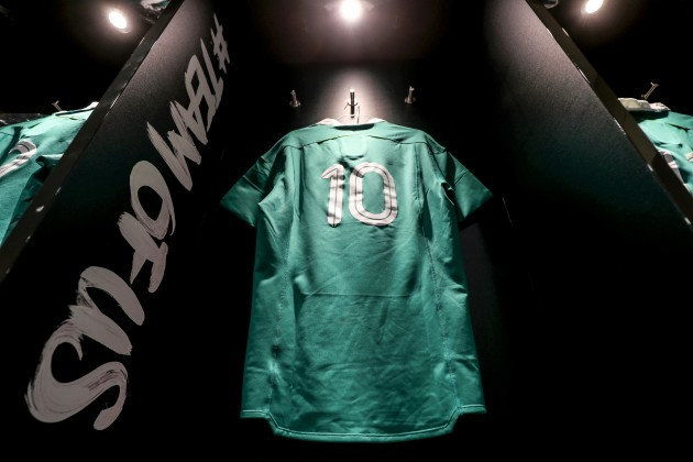 A view of Jonathan Sexton's jersey