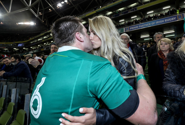 CJ Stander celebrates winning with his wife Jean-Marie