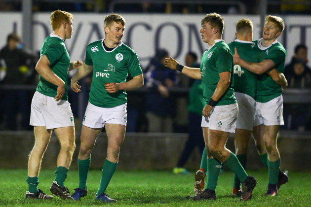 Ireland players celebrate after the game