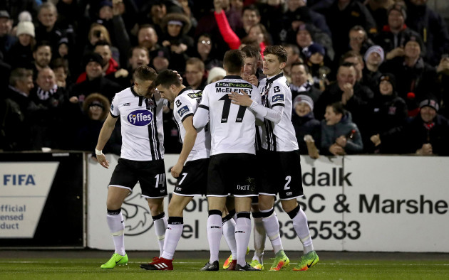 Ciaran Kilduff celebrates with Patrick McEleney, Michael Duffy and Sean Gannon after scoring their second goal
