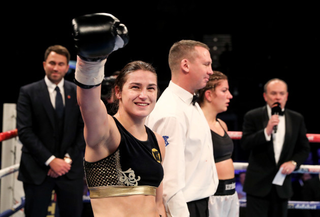 Katie Taylor is declared the winner