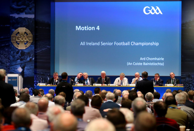 A view of delegates discussing Motion 4, All Ireland Senior Football Championship