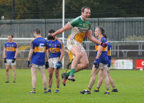 Michael Murphy celebrates at the final whistle
