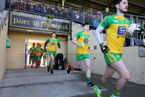 Donegal players take to the field