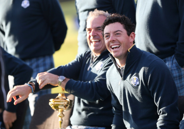 Paul McGinley and Rory McIlroy during the Europe team photograph