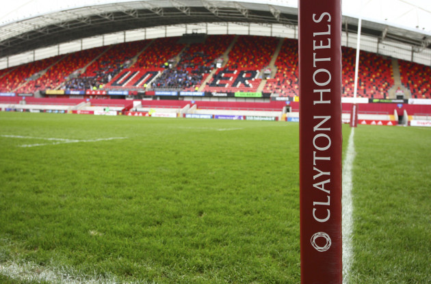A general view of Clayton Hotels branding at Thomond Park