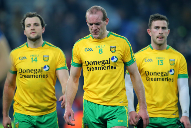 A dejected Michael Murphy, Neil Gallagher and Patrick McBrearty