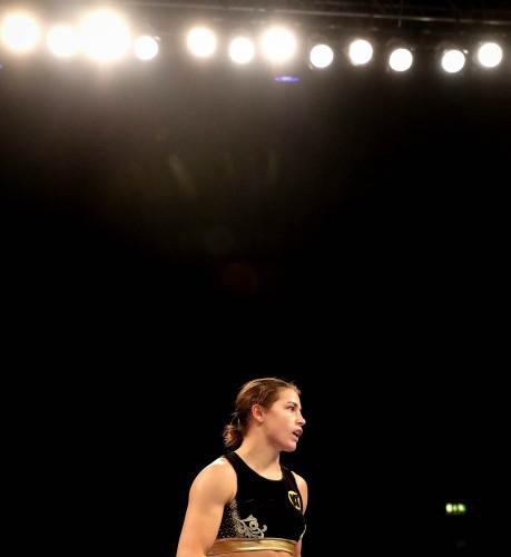 Katie Taylor in action against Karina Kopinska