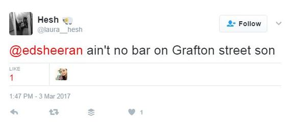 Which pub on Grafton Street is Ed Sheeran talking about in