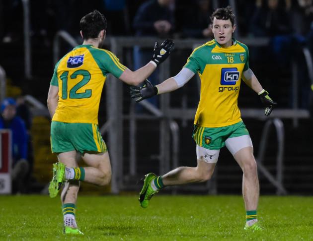Eoin McHugh celebrates scoring a goal with Ryan McHugh