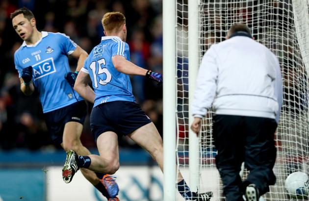 Conor McHugh palms the ball into the net