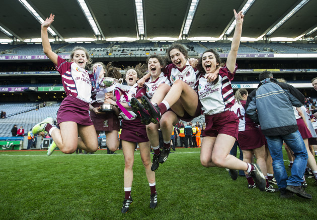 Chantelle McEldowney, Josie McMullan, Olivia Rafferty, Bridin McAllister and Olivia Rafferty celebrates after the game