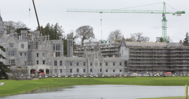 View of the ongoing extensive refurbishment, restoration and expansion project at Adare Manor, showing the construction of a new west wing