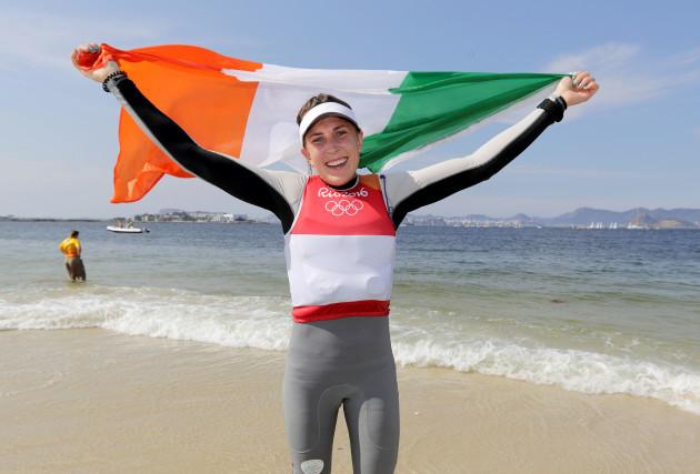 Annalise Murphy celebrates winning silver