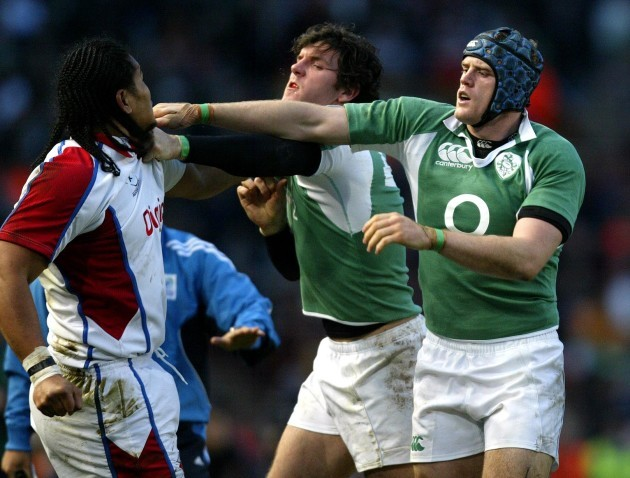Jamie Heaslip and Shane Horgan get into a tussle with Alesana Tuilagi