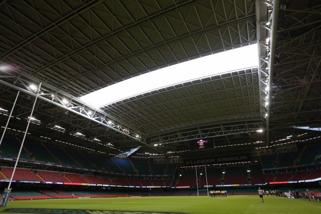 The roof being closed at the Millennium Stadium
