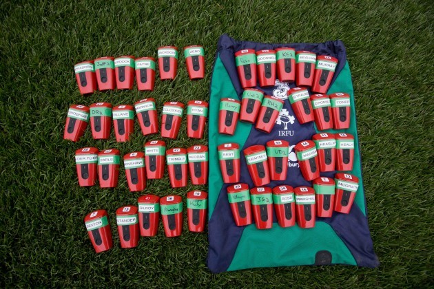 Ireland players' GPS units lined up