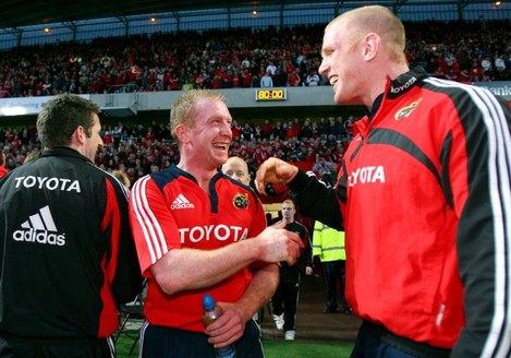 Paul O'Connell and Anthony Horgan celebrate after the game 15/5/2009