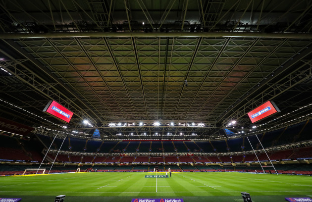 A general view of the closed roof in the Principality Stadium ahead of the game