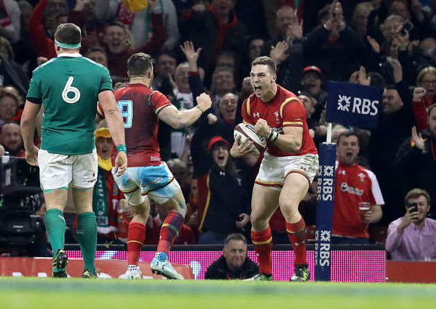 George North celebrates scoring their second try with Rhys Webb