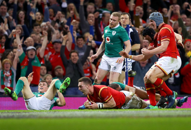 George North celebrates scoring their first try