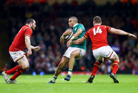 Simon Zebo with George North and Ken Owens