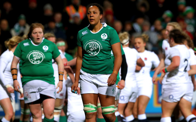 Sophie Spence dejected after England scored there second try