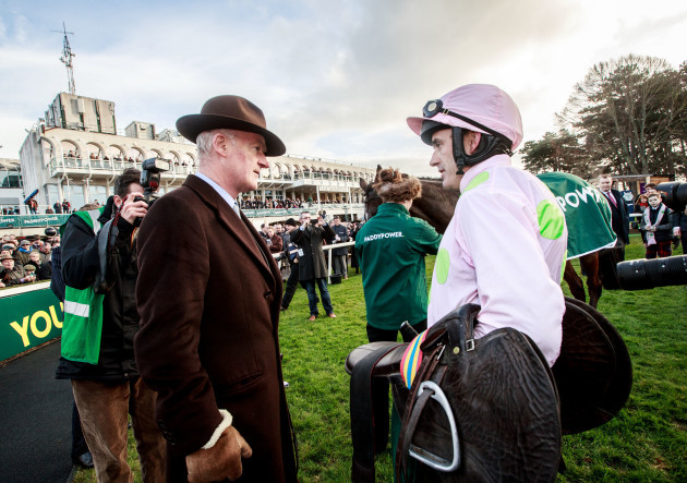 Willie Mullins speaks to Ruby Walsh after Douvan won the race
