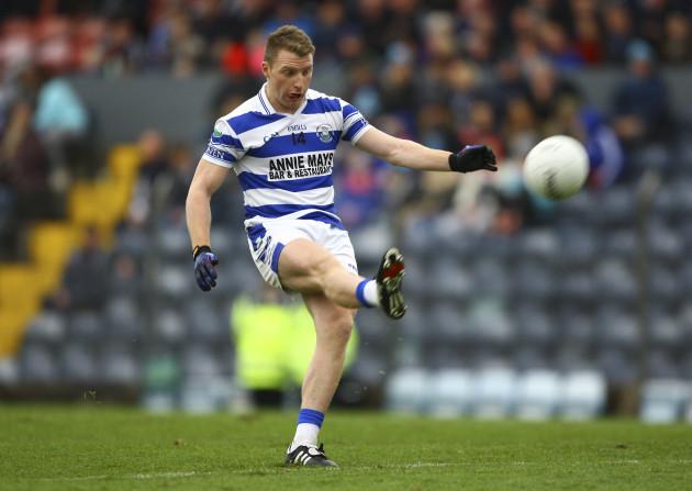 Brian Hurley kicks a free kick