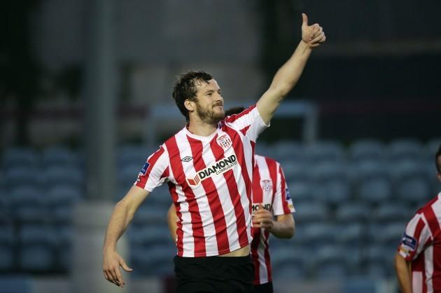 Ryan McBride celebrates scoring a goal