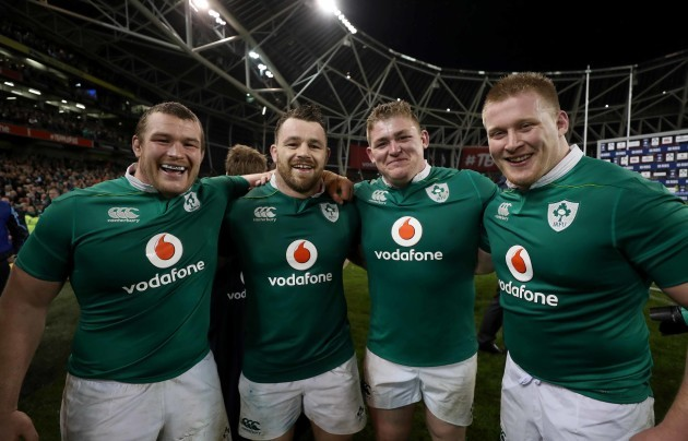 Ireland's Jack McGrath Cian Healy Tadhg Furlong and John Ryan after the match