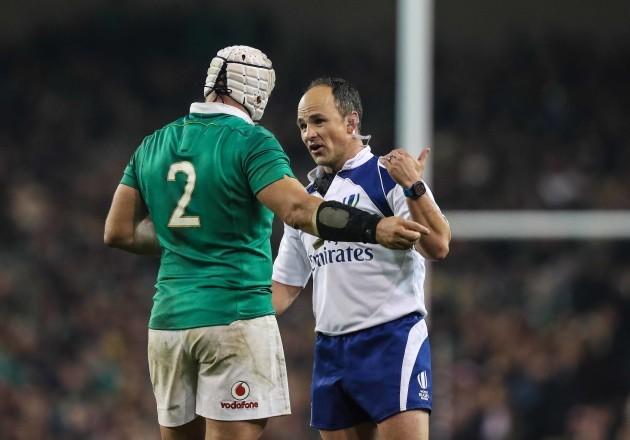 Rory Best talks to referee Jaco Peyper