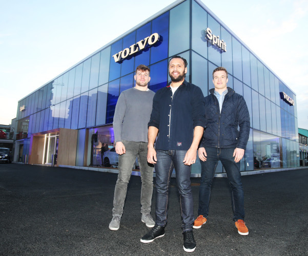 Leinster Rugby players and Volvo ambassadors Jordi Murphy, Isa Nacewa and Josh Van Der Flier at the launch of the new Spirit Motors Volvo Showroom in Sandyford
